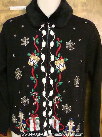 Black Horrible Christmas Sweater with Furry Collar