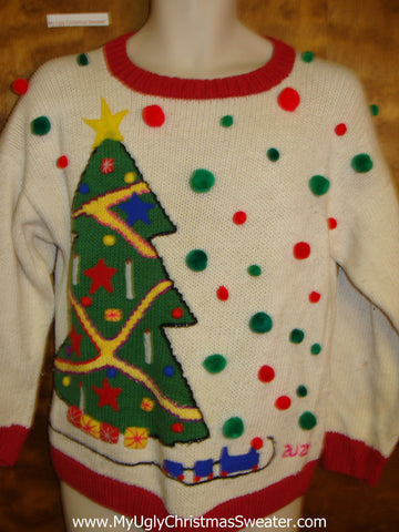 Awesome 80s Colorful Christmas Sweater Pullover