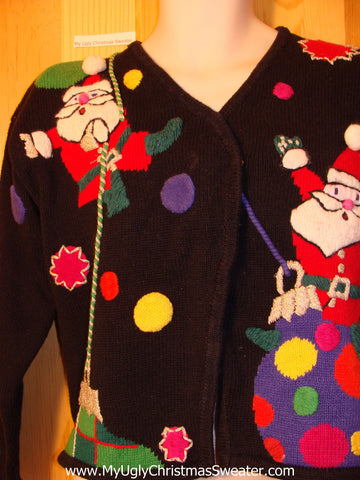 Tacky Ugly Christmas Sweater 80s Santa Clowing Around on Front and Back (f342)