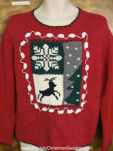 Funny Red Christmas Sweater Pullover with Reindeer