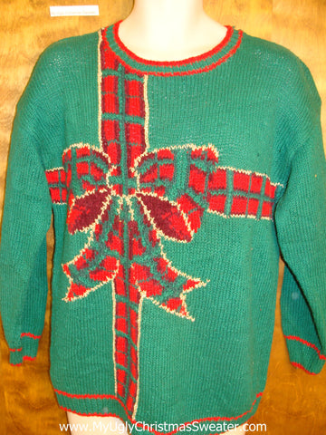 Plaid Bow Green Horrible Christmas Sweater Pullover