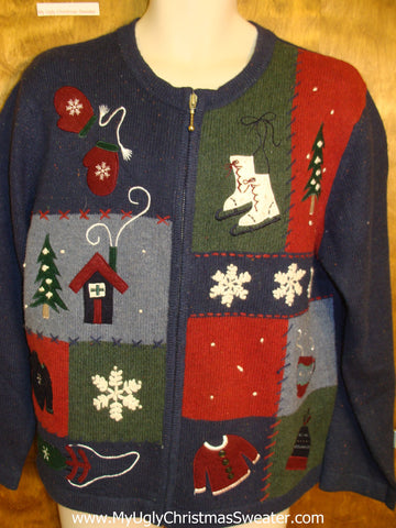 Cocoa and Ice Skates Horrible Christmas Sweater