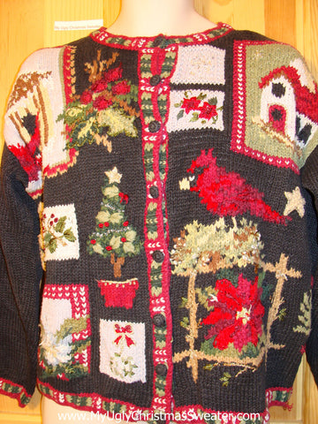 Tacky Ugly Christmas Sweater Busy Pattern with Cardinal Bird  (f343)
