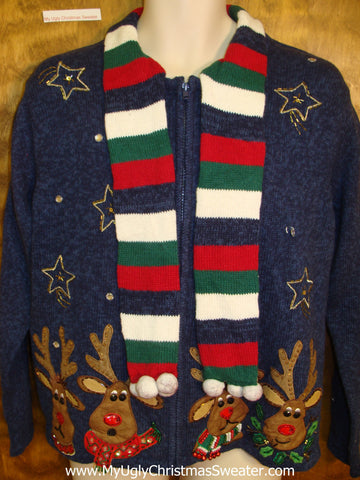 Horrible Reindeer Themed Christmas Sweater with Scarf