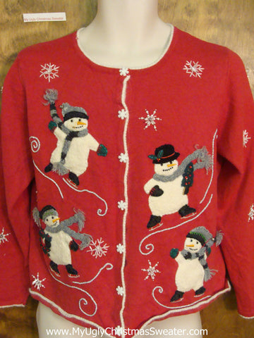 Ice Skating Snowmen 2sided Horrible Christmas Sweater
