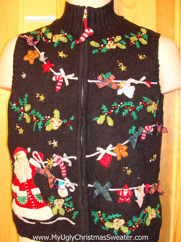 Tacky Ugly Christmas Sweater Vest 2sided Santa with 3D Bows(f344)