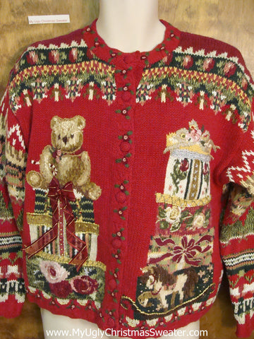 Teddy Bear Geometric Mess Horrible Christmas Sweater