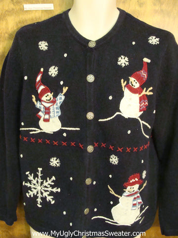 Happy Stick Armed Snowmen Horrible Christmas Sweater