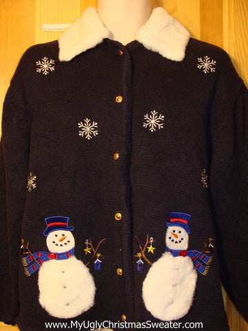 Tacky Ugly Christmas Sweater with Furry Collar and Festive Snowmen and Snowflakes (f345)