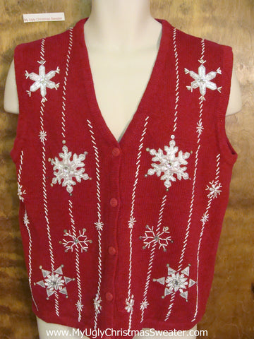 Simple Red Tacky Christmas Sweater Vest with Snowflakes