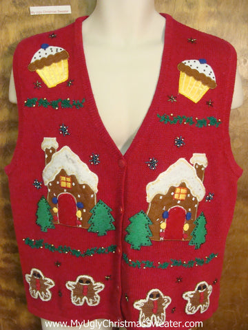 Cupcakes and Gingerbread House Horrible Christmas Sweater Vest