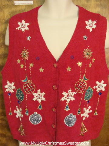Horrible Christmas Sweater Vest with Snowflakes and Ornaments