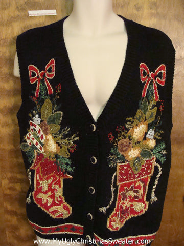 Horrible Fancy Stockings Christmas Sweater Vest