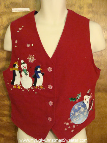 Horrible Red Christmas Sweater Vest with Snowmen
