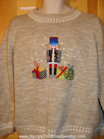 Tacky Ugly Christmas Sweater with Colorful Nutcracker and Gifts (f346)