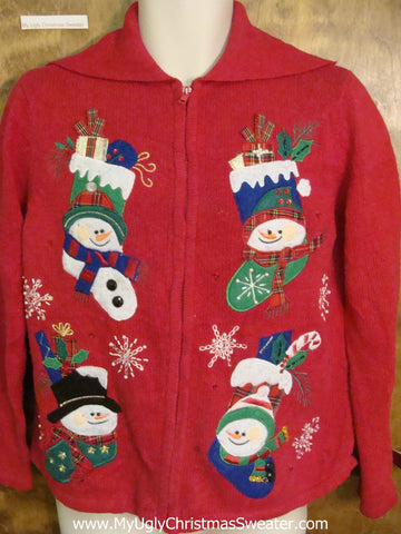 Snowman Stockings Horrible Christmas Sweater
