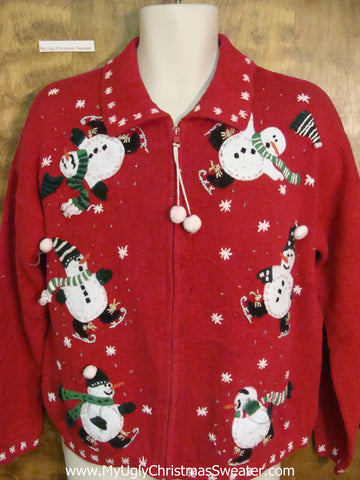 Funny Ice Skating Snowmen Horrible Christmas Sweater