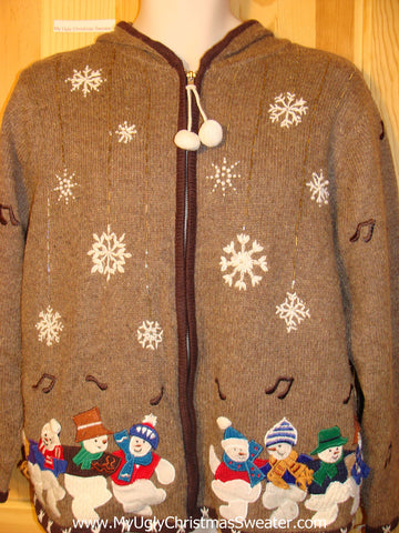 Tacky Ugly Christmas Sweater with Hood. Two Sided Design with Dancing Snowmen (f347)