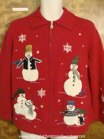 Horrible Red Christmas Sweater with Snowmen