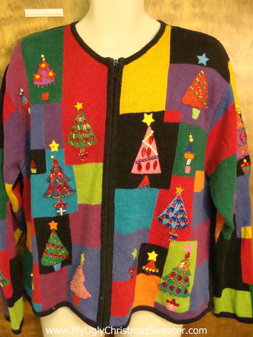 80s Colorful Trees Horrible Christmas Sweater