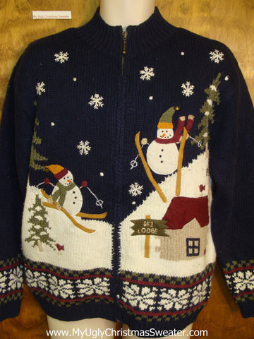 Skiing Snowmen 2sided Horrible Christmas Sweater