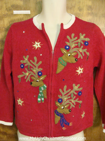 CHEAP Funny Peaking Reindeer Horrible Christmas Sweater