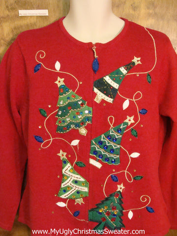 Falling Trees 2sided Horrible Christmas Sweater