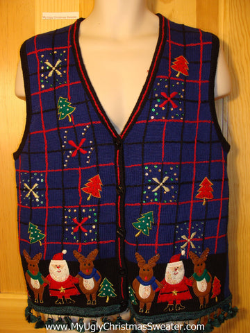 Tacky Ugly Christmas Sweater Vest with Dangling Fringe with Santa and Reindeer  (f348)