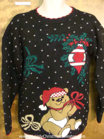 80s Teddy Bear Horrible Christmas Sweater Pullover