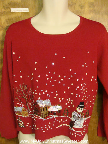 Thin Stretchy Winter Themed Horrible Christmas Sweater Pullover