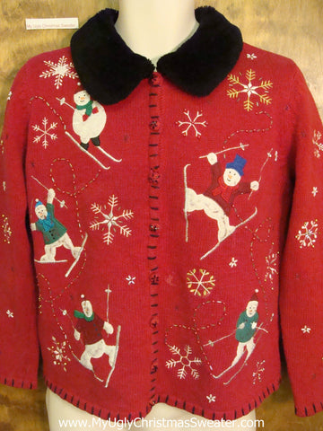 CHEAP Skiing Snowmen Christmas Sweater with Imperfection