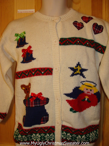 Tacky Ugly Christmas Sweater 80s with Angel, Bear in Stocking, Hearts, and Gifts (f349)
