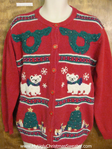 80s Dogs and Wreaths Ugly Christmas Sweater Cardigan