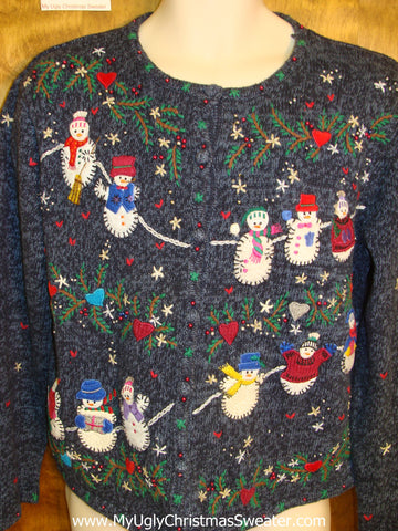 Snowmen on a Rope Ugly Christmas Sweater Cardigan