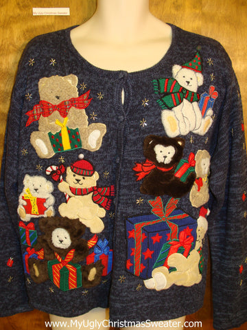 Teddy Bear Party Ugly Christmas Sweater Cardigan
