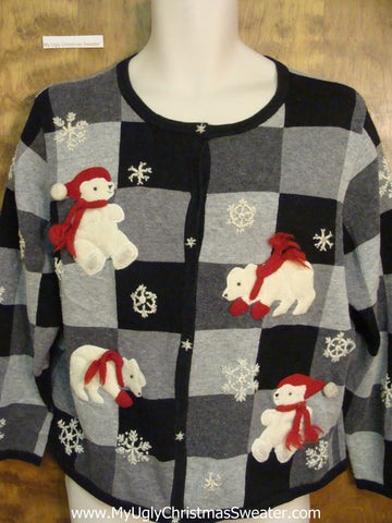 Polar Bear Checkerboard Ugly Christmas Sweater Cardigan
