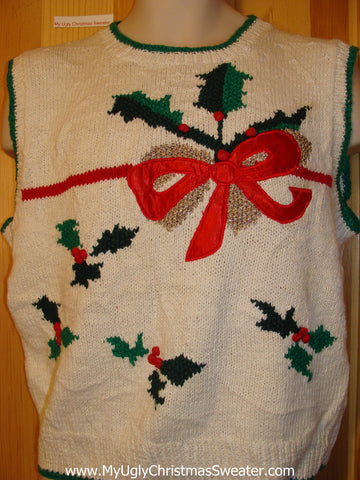 Tacky Ugly Christmas Sweater Vest 80s Style with Bow and Ivy (f350)