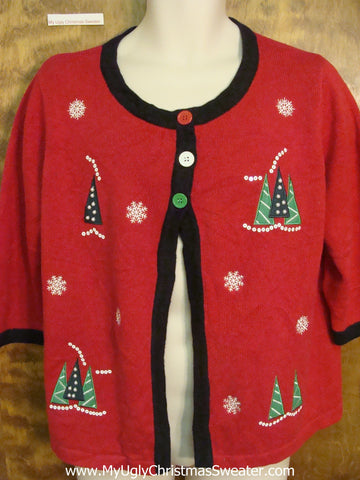 Ridiculous 3 Button Ugly Christmas Sweater Cardigan
