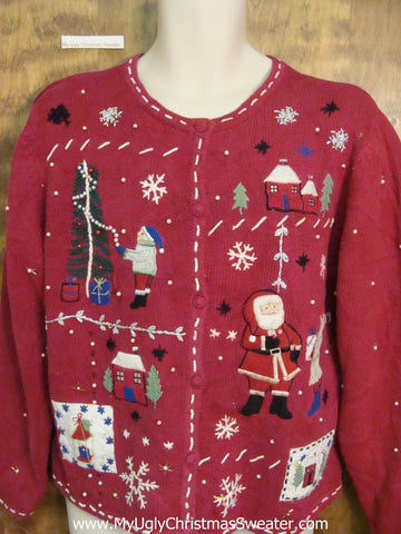 Crafty Red Ugly Christmas Sweater Cardigan