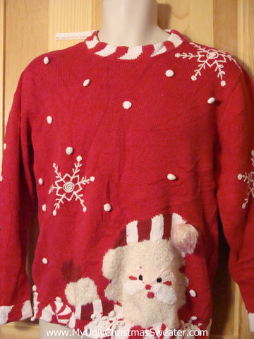 Tacky Ugly Christmas Sweater with Huge Peaking Santa and Candy Cane Trim (f351)