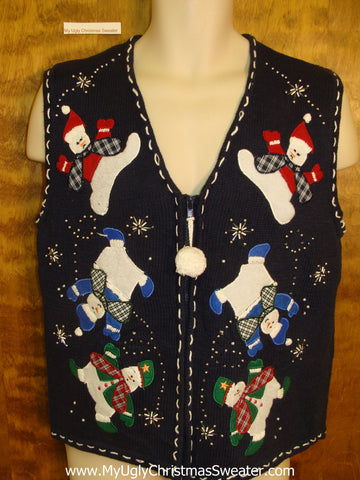 Tumbling Snowmen Ugly Christmas Sweater Vest