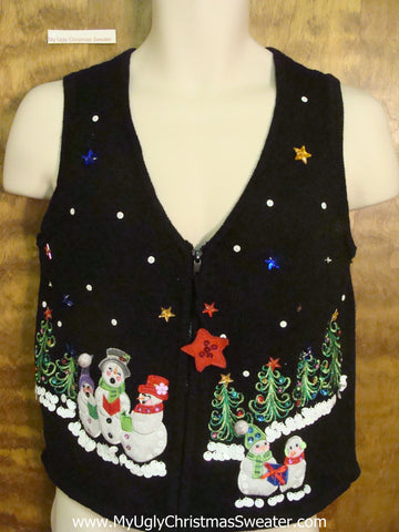 Singing Snowmen Ugly Christmas Sweater Vest