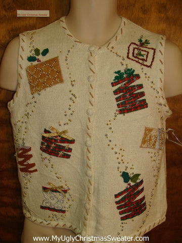 Ugly Two Sided Gift Themed Christmas Sweater Vest
