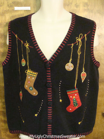 Ugly Christmas Sweater Vest with Dangling Stockings and Ornaments