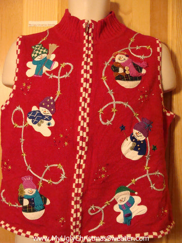 Tacky Ugly Christmas Sweater Vest with Tumbling Snowmen (f352)