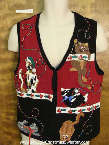 Crazy Cat Lady Awesome 2sided Ugly Christmas Sweater Vest