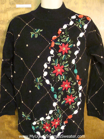 Horrible Red Poinsettias 80s Ugly Christmas Sweater