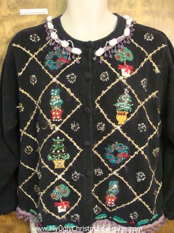 Awesome Ugly Christmas Sweater Cardigan with Purple Bling Fringe