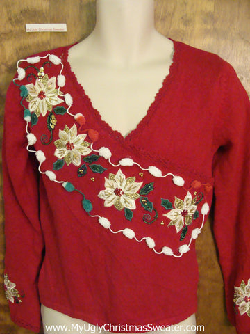 Fancy Poinsettias and Pom Poms Ugly Christmas Sweater Pullover