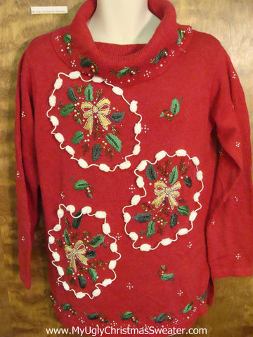 Ugly 80s Christmas Sweater Pullover with Pom Poms